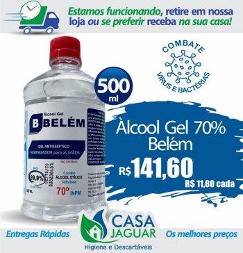 Álcool Gel Bactericida Glicerinado500ml/400G Refil - BELÉM (Caixa com 12 unid.)