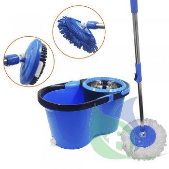 Balde Mop Perfect Pro 360 c/ 3 Refis Cesto Inox Limpesa Pesada