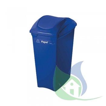 Lixeira Plástica Tampa Basculante 40L Azul - SUPERPRO