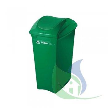 Lixeira Plástica Tampa Basculante 40L Verde - SUPERPRO