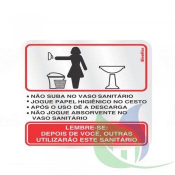 120AI - Placa Alumínio 15X15cm Aviso Sanitário Feminino - SINALIZE