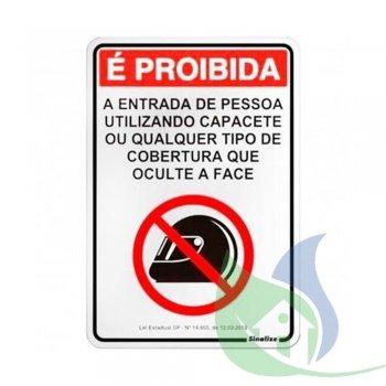 170SP - Placa Alumínio 16X23cm Proibido Capacete - SINALIZE