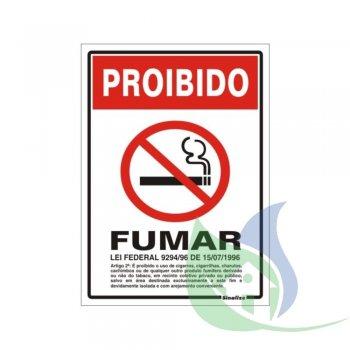 220AB - Placa Em PVC 15X20cm Proibido Fumar - SINALIZE