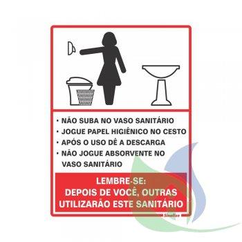 220AG - Placa Em PVC 15X20cm Aviso Sanitário Feminino - SINALIZE