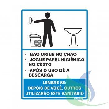 220AH - Placa Em PVC 15X20cm Aviso Sanitário Masculino - SINALIZE
