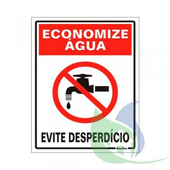 220AN - Placa Em PVC 15X20cm Economize Água - SINALIZE
