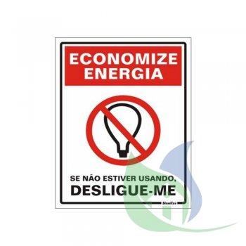 220AO - Placa Em PVC 15X20cm Economize Energia - SINALIZE