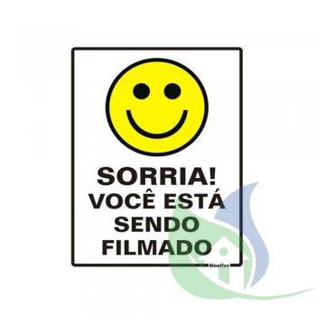 250AJ - Placa Em PVC 20X30cm Sorria, Você Está Sendo Filmado - SINALIZE