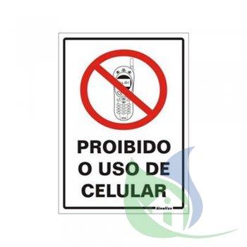 250AL - Placa Em PVC 20X30cm Proibido Celular - SINALIZE
