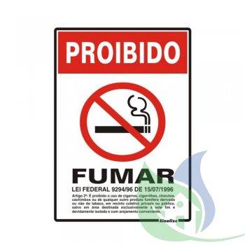 250AW - Placa Em PVC 20X30cm Proibido Fumar - SINALIZE