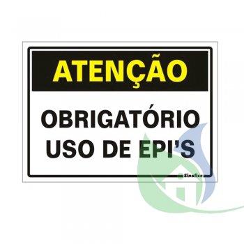 250BT - Placa Em PVC 20X30cm Atenção Obrigatório EPI - SINALIZE