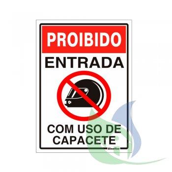 250SP - Placa Em PVC 20X30cm Proibido o Uso De Capacete - SINALIZE