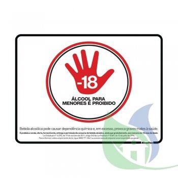 290SP - Placa Em PVC 20X25cm Proibido Venda Alcoólica - SINALIZE