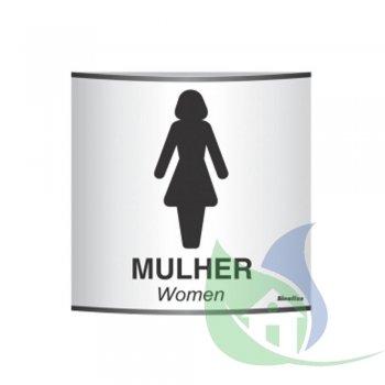 500AH - Placa Em Alumínio Calandrado 14X14cm Sanitário Feminino - SINALIZE