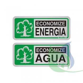 900BB - Placa Em Alumínio  12X12CM Economize Energia - SINALIZE
