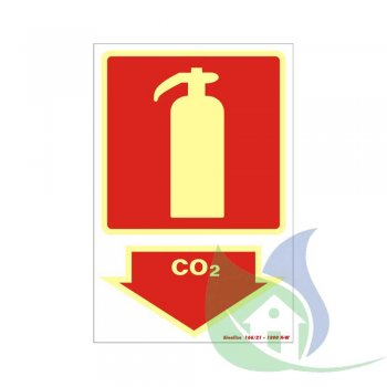 250BS - Placa Em PVC 20X30cm Extintor CO2 Fotoluminescência- SINALIZE