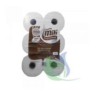Papel Toalha Bobina UNIQUE 200mX20cm 100% Celulose Pacote Com 6 Rolos - MILI